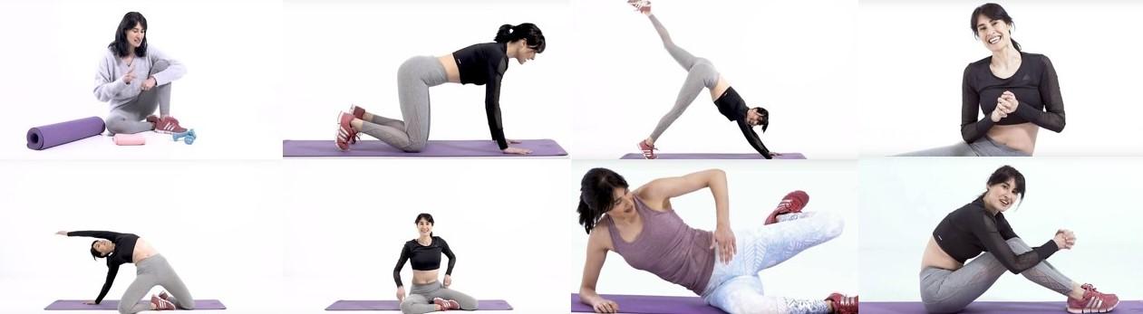 Vanessa Guerra haciendo diferentes ejercicios para el curso en Milk School